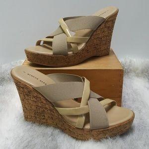 Athena Alexander nude cork wedge sandals 8